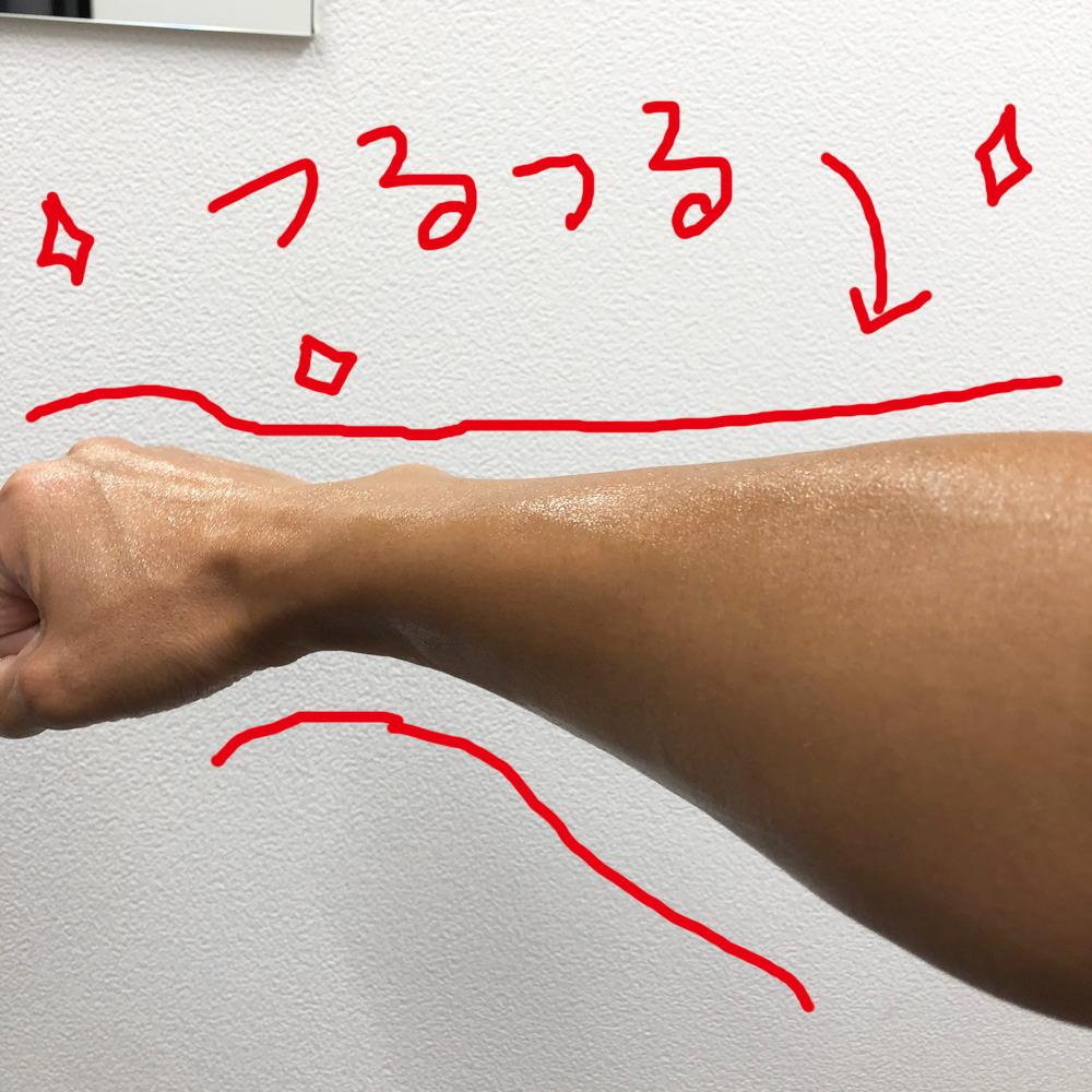 施術後の腕